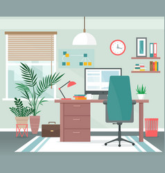 home office workplace cartoon vector image