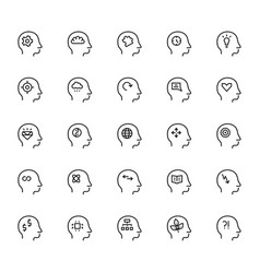 human mind icon in thin line style symbols vector image