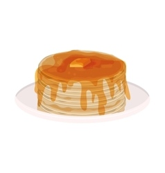 Image color with pancakes stacked and syrup vector