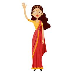 India crying business woman waving hand goodbye vector
