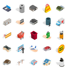 Infrastructure icons set isometric style vector