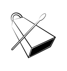 Isolated cowbell outline musical instrument vector
