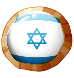 Israel flag on round frame vector