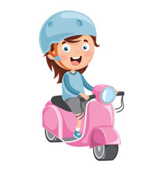 kid riding motorcycle vector image