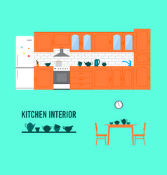 Kitchen interior vector