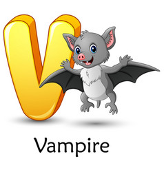 Letter v is for vampire bat cartoon alphabet vector