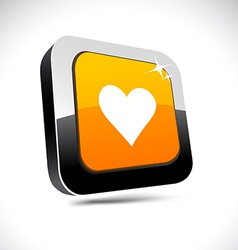 Love 3d square button vector