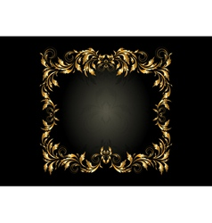 Luxury gold square frame with decor of spirals vector image