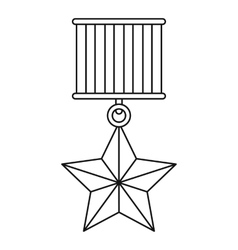 Medal star icon outline style vector image