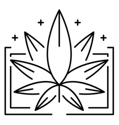 medical marijuana leaf logo outline style vector image