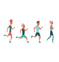 men and women running marathon race group of vector image