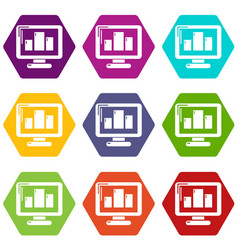 monitor icons set 9 vector image