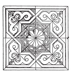 Moorish square panel is a 14th century design vector