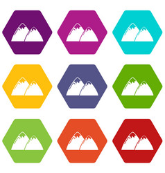 mountain icons set 9 vector image