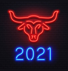 neon red ox for 2021 new year greeting card vector image
