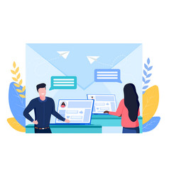 online communication concept using laptops vector image