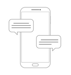 outline drawing smartphone dialogue icon vector image