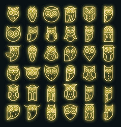 owl icons set neon vector image