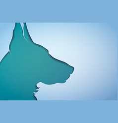 papercut dogs head silhouette on blue background vector image