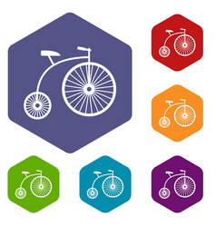 penny-farthing icons set vector image