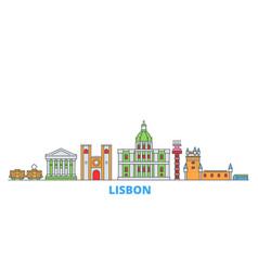 Portugal lisbon line cityscape flat vector