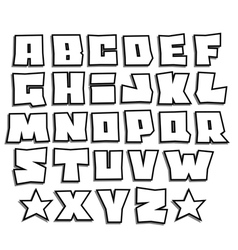 Readable graffiti fonts alphabet with shadow vector
