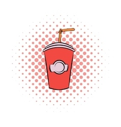 Red cardboard cup with a straw comics icon vector