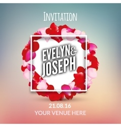 Rose petals Beautiful wedding invitation vector image