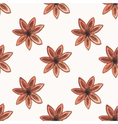 Seamless watercolor pattern with star anise on the vector