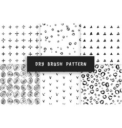 Set dry brush pattern vector