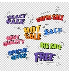Set of pop art comic sale promotion transparent vector image
