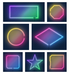 set realistic colorful glowing different vector image