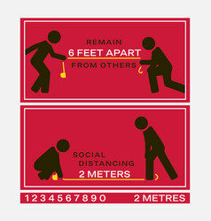 signs marked with appropriate physical distance vector image