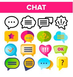 speech bubble icon set chat dialog vector image