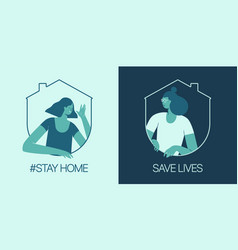 stay at home save lives social media campaign vector image