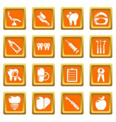 Stomatology dental icons set orange square vector