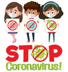 stop coronavirus logo with three teenagers vector image