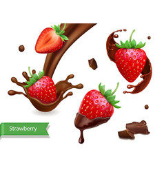 strawberry in chocolate splash realistic vector image