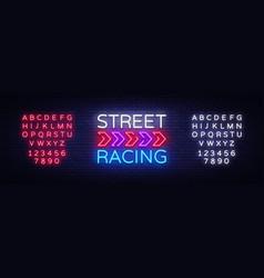 Street racing night neon logo racing neon vector