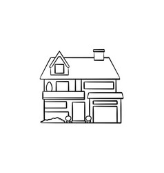 suburban cottage hand drawn outline doodle icon vector image
