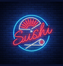 Sushi logo in neon style bright neon sign with vector