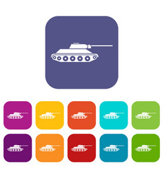 Tank icons set vector