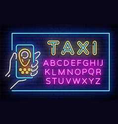 taxi neon signboard in frame taxi neon vector image