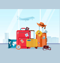 tourist travel suitcases luggage and bags with vector image