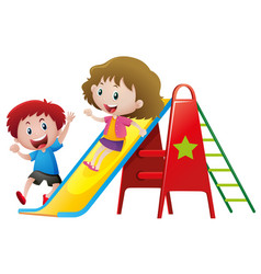 Two kids playing on slide vector
