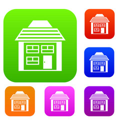 Two-storey house with sloping roof set collection vector
