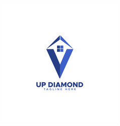 up house diamond logo vector image