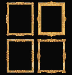 Vintage gold ornate square frames isolated retro vector