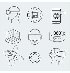 virtual reality design set vr thin line icon vector image