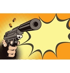 Weapon in hand in the style of pop art vector image